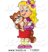 Vector of Happy Blond White Girl Holding Her Pet Cat by Visekart