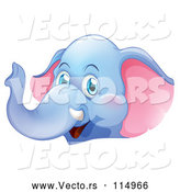 Vector of Happy Blue Elephant Cartoon by Graphics RF