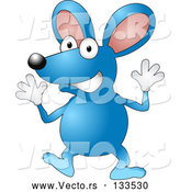 May 4th, 2018: Vector of Happy Blue Mouse Wearing Gloves and Doing Jazz Hands by AtStockIllustration