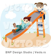 Vector of Happy Boy and a Girl Playing on a Slide at a Playground by BNP Design Studio