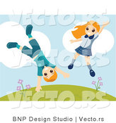 Vector of Happy Boy and Girl Jumping Around and Doing Cartwheels on a Hill by BNP Design Studio