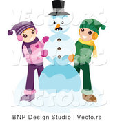 Vector of Happy Boy and Girl Making Snowman Together by BNP Design Studio