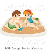 Vector of Happy Boy and Girl Playing in a Sand Box by BNP Design Studio