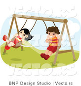 Vector of Happy Boy and Girl Swinging on Playground Swings by BNP Design Studio