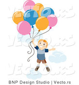 Vector of Happy Boy Floating into Sky with Balloons and Clouds by BNP Design Studio