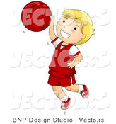 Vector of Happy Boy Jumping with Basketball by BNP Design Studio