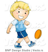 Vector of Happy Boy Kicking Football by BNP Design Studio