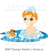 Vector of Happy Boy Playing with Floating Duck Toy in Bubble Bath by BNP Design Studio