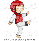 Vector of Happy Boy Practicing Martial Arts by BNP Design Studio