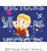 Vector of Happy Boy Reaching for Planets Emerging from an Open School Book by BNP Design Studio