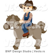 Vector of Happy Boy Riding a Pony by BNP Design Studio