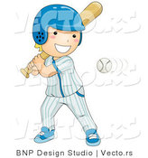 Vector of Happy Boy Swinging at Baseball by BNP Design Studio