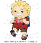 Vector of Happy Boy Walking to School with a Backpack by BNP Design Studio