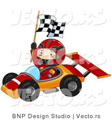 Vector of Happy Boy Waving Checkered Flag While Driving a Race Car by BNP Design Studio