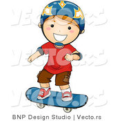 Vector of Happy Boy Wearing Helmet While Skateboarding by BNP Design Studio