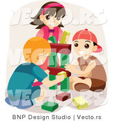 Vector of Happy Boys and a Girl Playing with Blocks by BNP Design Studio