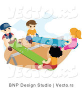Vector of Happy Boys and Girls Playing on Teeter Totters at a Park by BNP Design Studio