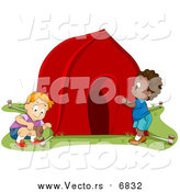 Vector of Happy Boys Pitching a Tent by BNP Design Studio