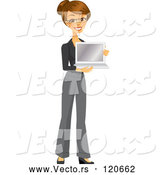 Vector of Happy Brunette Businesswoman Holding a Laptop by Amanda Kate