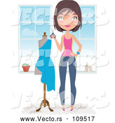 Vector of Happy Brunette Caucasian Female Fashion Designer Holding Scissors by a Dress on a Mannequin by Melisende Vector