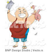 Vector of Happy Butcher Man Holding Knife and Chicken by BNP Design Studio