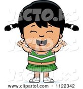 Vector of Happy Cartoon Asian Cheerleader Girl Cheering by Cory Thoman