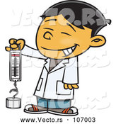 Vector of Happy Cartoon Asian School Boy Holding a Spring Scale by Toonaday