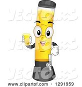 Vector of Happy Cartoon Beer Tower Character Holding a Glass by BNP Design Studio