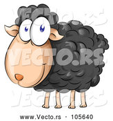 Vector of Happy Cartoon Black Sheep by Domenico Condello