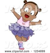 Vector of Happy Cartoon Black Toddler Girl Dancing Ballet by BNP Design Studio