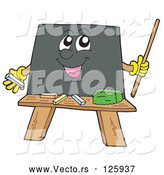 Vector of Happy Cartoon Blackboard Holding a Pointer Stick by Visekart