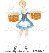 Vector of Happy Cartoon Blond Oktoberfest Beer Maiden Lady by Pushkin