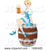 Vector of Happy Cartoon Blond Oktoberfest Beer Maiden Lady Sitting on a Keg Barrel by Pushkin