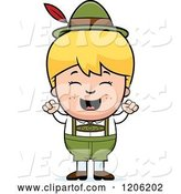 Vector of Happy Cartoon Blond Oktoberfest German Boy Cheering by Cory Thoman