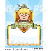 Vector of Happy Cartoon Blond Oktoberfest German Boy Page Border by Cory Thoman