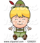 Vector of Happy Cartoon Blond Oktoberfest German Boy Sitting by Cory Thoman