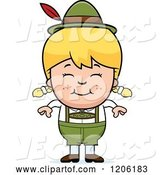 Vector of Happy Cartoon Blond Oktoberfest German Girl by Cory Thoman