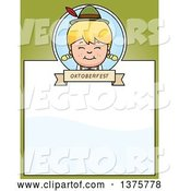 Vector of Happy Cartoon Blond Oktoberfest German Girl Page Border by Cory Thoman