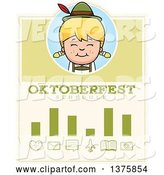 Vector of Happy Cartoon Blond Oktoberfest German Girl Schedule Design by Cory Thoman