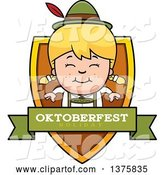 Vector of Happy Cartoon Blond Oktoberfest German Girl Shield by Cory Thoman