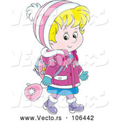 Vector of Happy Cartoon Blond White School Girl Walking in Winter Apparel by Alex Bannykh