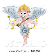 Vector of Happy Cartoon Blond White Valentines Day Cupid Holding a Gold Heart Arrow and Bow by AtStockIllustration