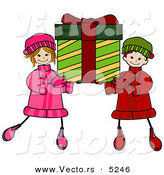 Vector of Happy Cartoon Boy and Girl Carrying a Big Christmas Present by BNP Design Studio