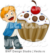 Vector of Happy Cartoon Boy Carrying Giant Cupcake with Cherry on Top by BNP Design Studio