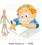 Vector of Happy Cartoon Boy Drawing Stick Figure Model on Paper with Pencil by BNP Design Studio