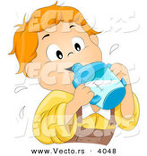 Vector of Happy Cartoon Boy Drinking from Sippy Cup by BNP Design Studio