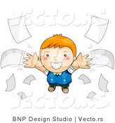 Vector of Happy Cartoon Boy Flying Beside Loose Paperwork by BNP Design Studio