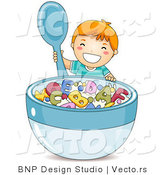 Vector of Happy Cartoon Boy Holding with Big Bowl of Alphabet Cereal by BNP Design Studio