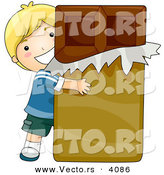 Vector of Happy Cartoon Boy Hugging Giant Chocolate Candy Bar by BNP Design Studio
