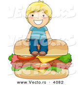 Vector of Happy Cartoon Boy Sitting on Big Cheeseburger by BNP Design Studio